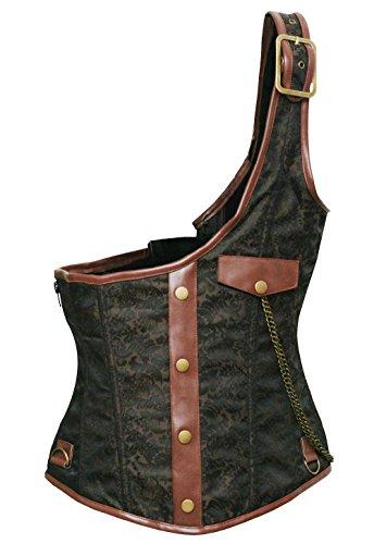 Bslingerie Mens Steampunk Metal Chain Waist Cincher Costume Corset Vest (Brown, L) (Steampunk Vest Men)