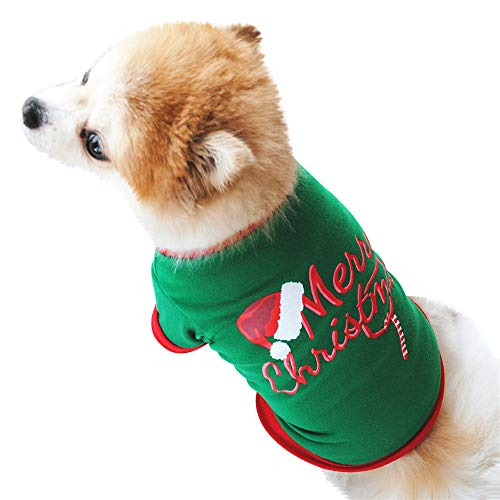 XoiuSyi Christmas Dog Clothing, Warm Green Cotton T Shirt for Puppy Costume