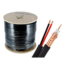 Sewell Direct SW-30173 Bulk RG6 and Power Siamese Cable, 500 Feet Spool, High Copper CSS, Shielded, Black, Indoor