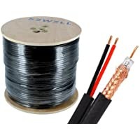 Sewell Direct SW-30175 Bulk RG6 and Power Siamese Cable, 1000 Feet Spool, High Copper CSS, Shielded, Black, Outdoor