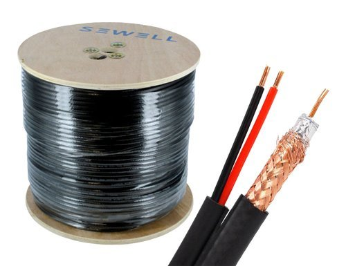 Sewell Direct SW-30175 Bulk RG6 and Power Siamese Cable, 1000 Feet Spool, High Copper CSS, Shielded, Black, Outdoor by Sewell Direct
