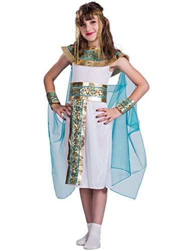 FantastCostume Girls Halloween Cleopatra Costume Egyptian Princess Dress(White, Large)