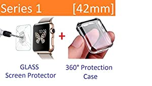 Apple Watch Case Series 1 42mm, Ezone Tempered Glass Screen Protector for Apple Watch Series 1 and Ultra-thin Clear HD Case