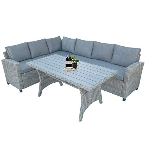 Hommoo 3 Piece Wicker Patio Furniture Outdoor Sectional Sofa Set, All-Weather PE Rattan Sofa Sectional Furniture Set with Table & Soft Cushions, Dining Table - Set Dining Deco