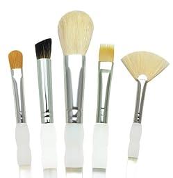 Royal Brush Soft Grip Textured Golden Taklon Fiber Paint Brush Set, Assorted Size, Set of 5
