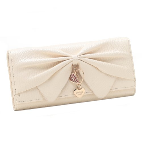 Damara Women Long Faux Leather Bifold Large Bow Design Wallet -