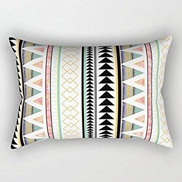 Aztec 3 Lumbar Pillowcase Throw Pillow Cover 12x20 Inches