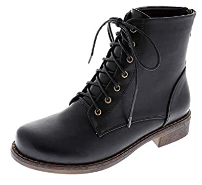Harper Shoes Womens Combat Boots Military Lace Up with Rear Zipper, Black, 5.5