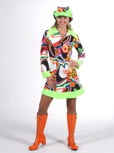 Disfraz hippie vestido Schlagerparty paleta groovy disco S 36 38 ...