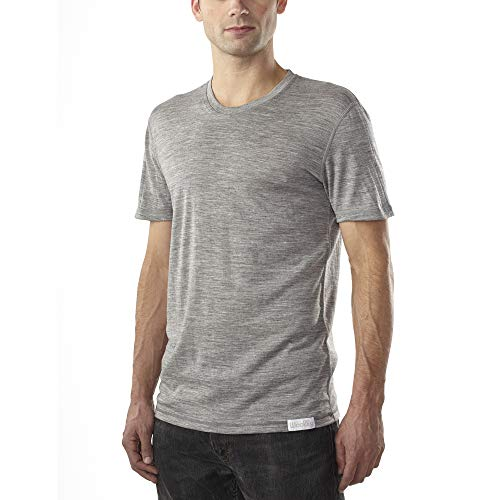 Woolly Clothing Men's Merino Wool Crew Neck Tee Shirt - Ultralight - Wicking Breathable Anti-Odor