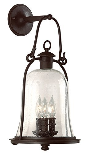 Troy Lighting Owings Mill 3-Light Outdoor Wall Lantern - Natural Bronze Finish with Clear Seeded Glass by (Natural Bronze Mill)
