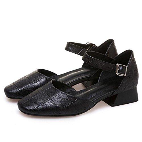 L@YC Frauen Mit Groben Sandalen Sommer Leder Baotou Big Word Word GüRtelschnalle Square Kopf Bequeme Schuhe Black