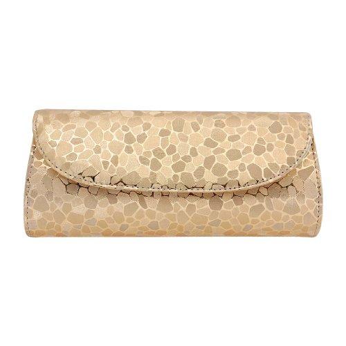 BMC PU Leather 2 Interior Zipper Pocket Magnetic Snap Chain Shoulder Strap Evening Clutch - GOLD 2 Interior Pockets