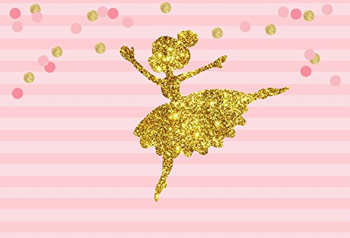 AOFOTO 7x5ft Abstract Little Girl Ballerina in Tutu Dress Dancing Background Baby Shower Party Decoration Photography Backdrop Kid Children Ballet Birthday Banner Photo Studio Props Vinyl Wallpaper ()