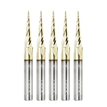 Amana Tool 46280-5, 5-Pack CNC 2D and 3D Carving 6.2 Deg Tapered Angle Ball Nose x 1/32 D x 1/64 R x 1 CH x 1/4 SHK x 3 Inch Long x 3 Flute SC ZrN Coated Router Bits