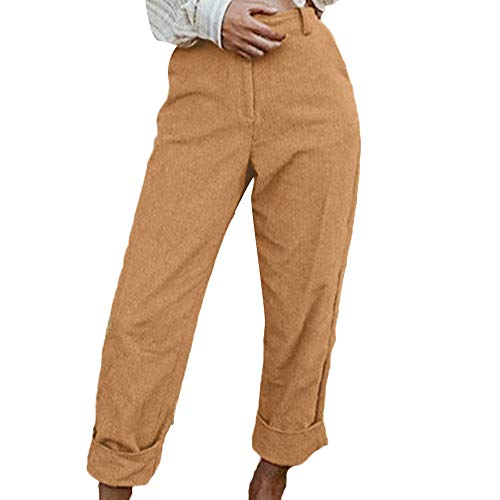 ANJUNIE Women Fashion Solid Corduroy Full Length Button Fly Pants with Pocket(Yellow,XL) -