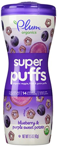 Plum Organics Super Puffs, Organic Baby Puffs, Blueberry with Purple Sweet Potato, 1.5 (Potato Puffs)