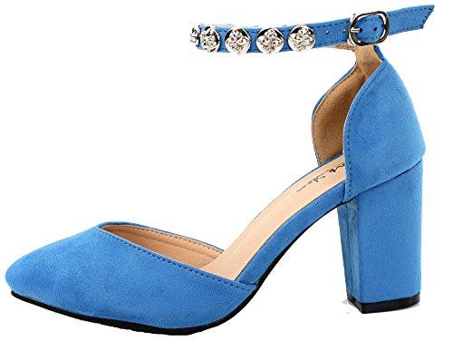 Bloc Clair Shoes Boucle Bleu Escarpins Talon Femmes Chaussures Ageemi Moyen 7qxtwz8tR