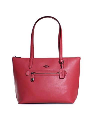 COACH Women's Pebbled Taylor Tote Dk/Washed Red One Size