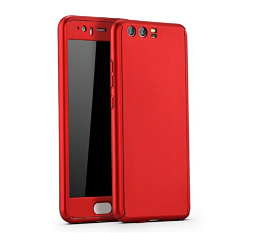 Price comparison product image Huawei P9/P9 Plus Case Vanki 3 In 1 Thin Hard PC Screen Protector Full Coverage (P10, Red)