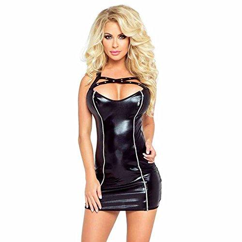 Catsuit Womens Wet Look Lingerie Bodysuit Faux Leather Criss-Cross Front Neckline Adjustable Dress (Leather Neckline)