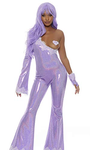 Forplay Women's Crush on You Sexy Iconic Superstar Costume, Lavender, M/L