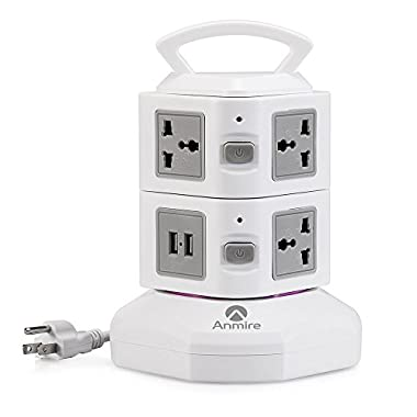 Anmire Power Strip, Multi-sockets 7 Outlets and 2 USB, 2500W, 110-250 Worldwide Voltage Power Socket, Universal Jack, with 6.5 Feet Cord for Home and Office