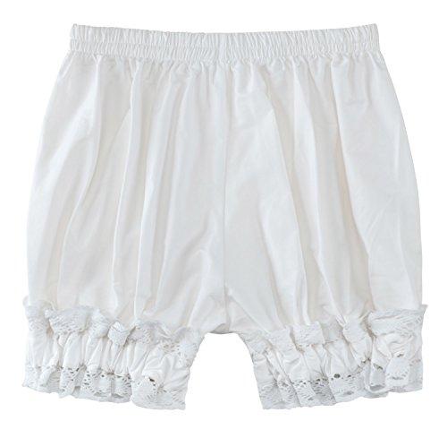 Sheface Women's Cotton Lace Hem Bloomers Lolita Shorts (Large, White) -