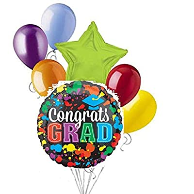 2020 Congrats Grad Paint Splash Splotch Graduation Party 7 Piece Mylar and Latex Balloons Set: Toys & Games