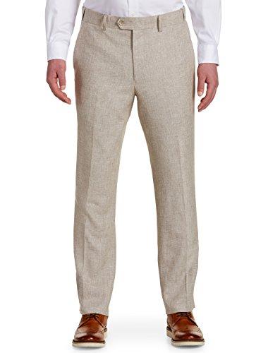 Oak Hill by DXL Big and Tall Waist-Relaxer Flat-Front Linen-Blend Suit Pants by Oak Hill