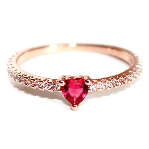 14K Rose Gold-Plated Ring with CZ Crystal, Size 5 ()