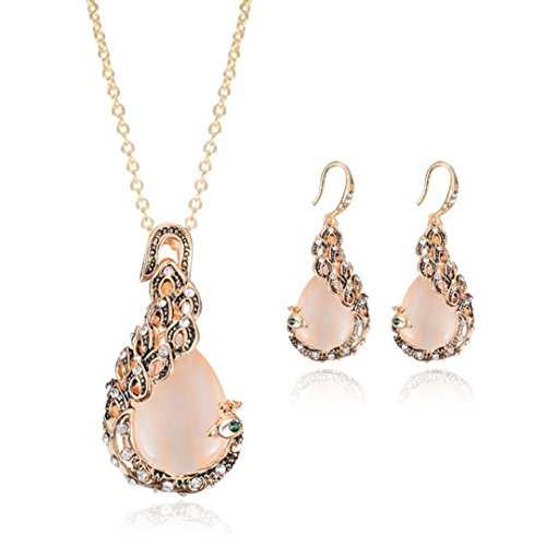 Agate Jewelry Set - Creazy Bridal Crystal Wedding Jewelry Set Alloy Necklace Earrings Rhinestone (061#)