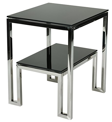 Cheap Cortesi Home Contemporary Adina Two Tier Black Glass End Table, Solid
