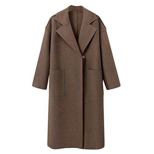 Color Windbreaker button Long sleeve Solid DYF Dark XL Khaki Pocket size Coat COAT Lapel Big FYM CqgXRawf1a