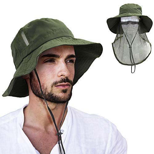 Tirrinia Anti-Mosquito Bug Mask Hat, Wide Brim Bucket Sun Cap with Face Net Mesh Boonie Hat for Men & Women Outdoor ()