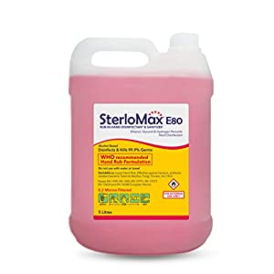SterloMax 80% Ethanol-based Hand Rub Sanitizer and Disinfectant, 5 L
