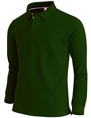 Price comparison product image BCPOLO Men's Polo Shirt Long Sleeve Cotton Pique Polo Shirt-green S