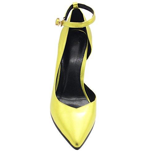 Calaier Femme Estdfo 8CM Compensé Fermeture Éclair Escarpins Chaussures Or