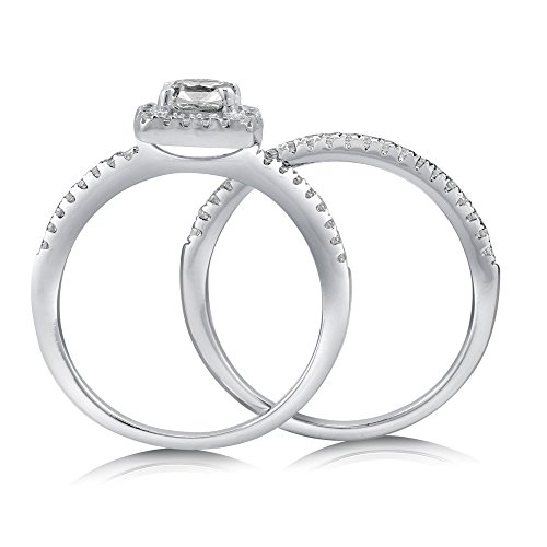 BERRICLE Rhodium Plated Sterling Silver Cubic Zirconia CZ Halo Engagement Ring Set Size 7 by BERRICLE (Image #3)