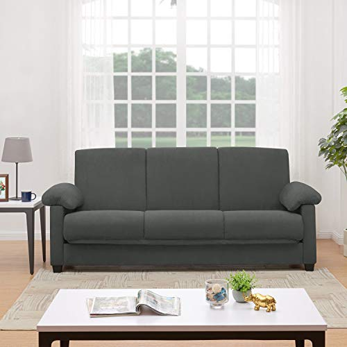 Handy Living Morrison Convert-a-Couch Grey Microfiber Futon Sleeper Sofa ()