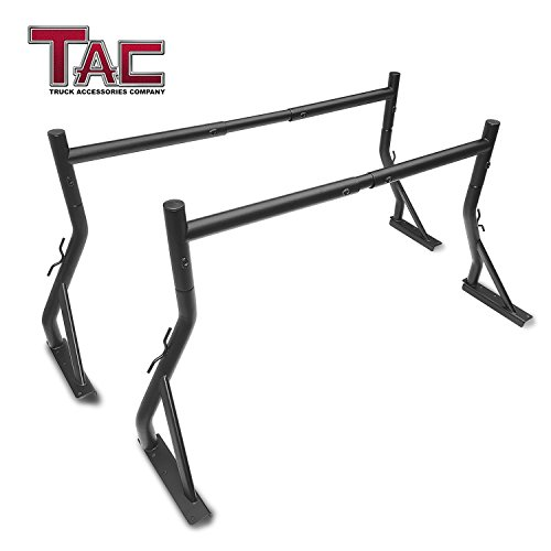 TAC Adjustable Truck Bed Ladder Rack 2 Bars Pick up Rack 500 lbs Capacity Utility Contractor Universal Custom Fit Kayak Canoe Boat Ladder Pipes Lumber Cargo Carrier ()