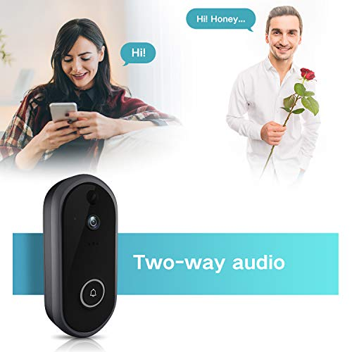 GJT 2018 New Smart Video Doorbell Wireless Home Security Camera with Chime, 8G SD Card, Free Cloud Service, 2 Batteries, 2-Way Talk 720P, Night Vision, PIR Detection, APP Control for iOS and Android by GJT (Image #1)
