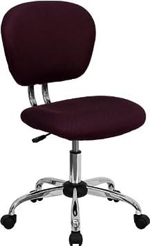 Flash Furniture Mid-Back Burgundy Mesh Swivel Task Chair with Chrome Base