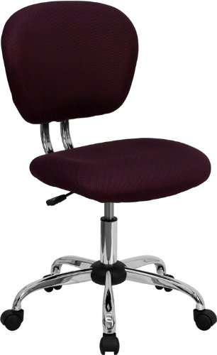 Flash Furniture Mid-Back Burgundy Mesh Swivel Task Chair with Chrome Base