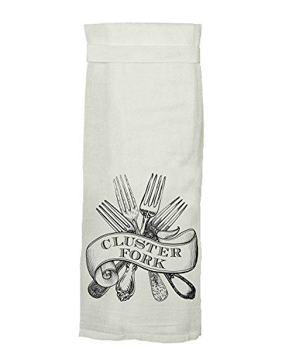 Twisted Wares Kitchen Towel, Funny with Hang Tight Design Cluster Fork with A Super Absorbent, Quick Dry, Lint Free 100% Cotton Flour Sack