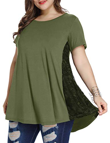 LARACE Women Lace Tunic Top Short Sleeve Flare T Shirt for Leggings(3X, Army Green)