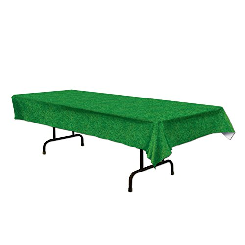 Plastic Tablecover Green Grass Turf Printed Party Buffet Tablecloth