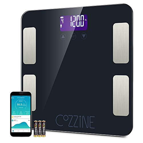 Cozzine Bluetooth Body Fat Scale, Smart BMI Scale Digital Bathroom Wireless Weight Scale, Body Composition Analyzer with Smartphone App