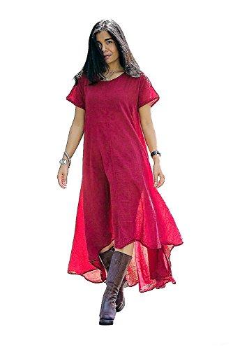 Red Fabulous Formal Evening Dress - Women's Red Russet Summer Dresses Irregular Long Maxi High Low Hem Cotton Clothing