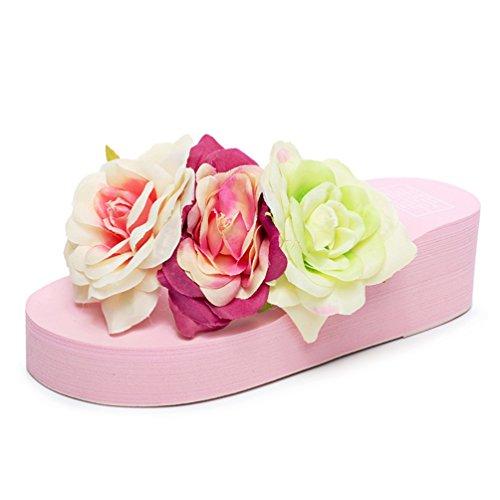 Plage Été Sandales a Fleurs Flip Tongs avec Compensé Talon de Compensees Flops Rose Femmes Pantoufle qgqwOAT